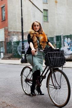 The Chef, Rivington St.,NYC « The SartorialistI would never think to ride a bike with a fox around my neck