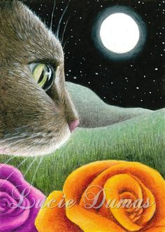 ACEO art print Cat 403 painting by Lucie Dumas by artbyLucie, $5.00