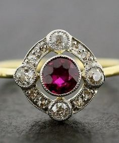 Antique Art Deco Ruby Ring - Art Deco Ruby & Diamond Engagement Ring 18ct Gold and Platinum