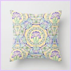 Iris Art Nouveau throw pillow accent cushion by #PatriciaSheaDesigns, designed in Maine.