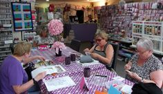 Cross Stitching Stitch and Natter Group - busy stitching away this morning and not looking at the camera. They meet every Monday morning from 10am - 12pm (except Bank Holidays)