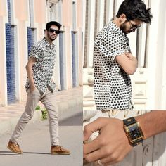 Stark Street Clothing Black And White Elephant Print Shirt, La Mer Collections Black Wash Gold Oversize Watch