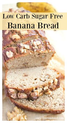 This moist low carb sugar free banana bread is delicious for breakfast and makes a great snack. net carbs per slice, gluten free and grain free. Banana Bread Low Carb, Banana Bread Almond Flour, Sugar Free Banana Bread, Banana Bread Recipes, Keto Bread, Low Carb Sweets, Low Carb Desserts, Low Carb Recipes, Diet Recipes