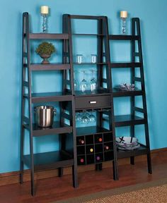 Ladder 5 Shelf Storage Rack Black Bookcase Wine Rack Wood Leaning Tier Bookshelf  | eBay
