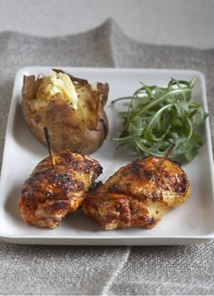 Devilled chicken: This chicken dish is really easy but full of flavour. Serve with a baked potato and salad for a quick and comforting midweek meal. Best Chicken Thigh Recipe, Chicken Thigh Recipes, Grilled Chicken Thighs, Boneless Skinless Chicken Thighs, Bbc Good Food Recipes, Healthy Recipes, Yummy Food, Pork Recipes, Healthy Foods