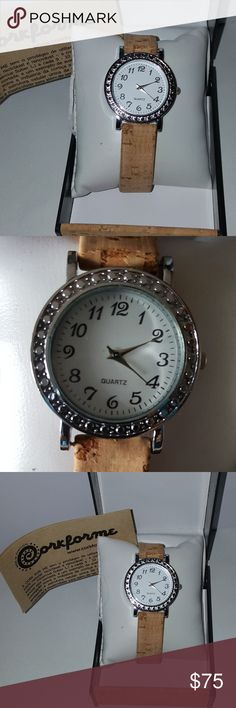 Cork watch from Portugal Georgeous cork watch from Portugal face is embellished with silvertone numbers & jeweled bezel. Rare as the cork shortage is preventing these great pieces from being made. New with tags & handmade cork case box. cork for me Accessories Watches
