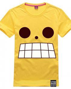 0785983bd One Piece Luffy same paragraph tshirt big teeth printed yellow tee for men-