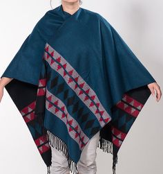 Blue Red Gray Black Double sided Winter Poncho. by scarfstore2012