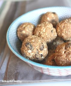 Oatmeal Raisin Cookie Dough Protein Balls - Busy But Healthy