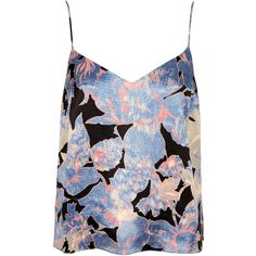 TOPSHOP Petite Floral Print V Cami ($19) ❤ liked on Polyvore featuring intimates, camis, tops, tank tops, blue, shirts, petite, floral camisole, floral cami and blue camisole