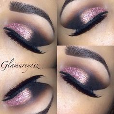 Pink and rose look with purple glitter - brow is a bit to defined, but good look for a bit of glam.  #girl makeup smokey eye