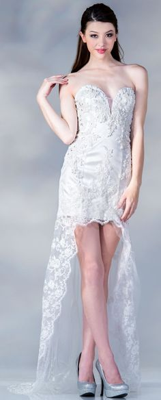 strapless bridal gown #lace #high low dress