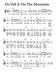 piano music Free Sheet Music - Free Lead Sheet - Go Tell It On The Mountain - African American Spiritual Clarinet Sheet Music, Violin Music, Recorder Music, Cello, Christmas Sheet Music, Christmas Ukulele, Trumpet Music, Church Songs, Free Sheet Music