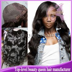 Beauty queen hair long wavy left part  U part wig brazilian unprocessed virgin U part glueless human hair wig for black women $95.00 - 218.00