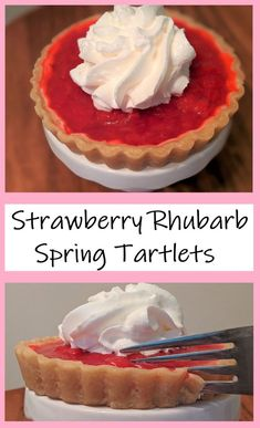 Simple and delicious recipe for strawberry rhubarb tartlets- bring a taste of spring into your kitchen today! Strawberry Rhubarb Pie, Strawberry Recipes, Party Recipes, Dessert Recipes, Desserts, Best Sugar Cookies, Homemade Whipped Cream, Cookie Swap, Eating Raw