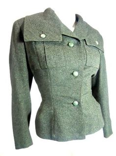 1940s Christian Dior New Look flecked pine green nipped waist jacket, new at Dorothea's Closet Vintage