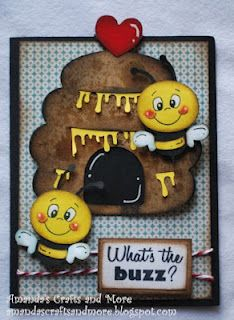 Cricut *Create a Critter(hive, bees,& heart) *Plantin SchoolBook (card) inspiration for layout elements Paper Piecing, Punch Art Cards, Create A Critter, Bee Cards, Cricut Cards, Animal Cards, Butterfly Cards, Copics, Scrapbook Cards