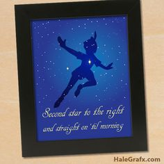 """Peter Pan picture is inches that you can frame. Says """"Second Star to the right and straight on 'til morning"""". Baby Disney, Disney Love, Mario Birthday Banner, Peter Pan Pictures, Disney Bathroom, Peter Pan Quotes, Fire Flower, Kids Party Themes, Art Wall Kids"""