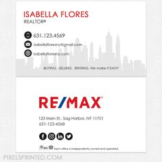 Remax Business Cards Re Max Realtor