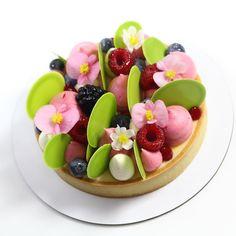 Key lime tart with berries Creative Desserts, Creative Cakes, Just Desserts, Tart Recipes, Sweet Recipes, Cupcake Cake Designs, Chocolate Lasagna, Cake Chocolate, Raspberry Tarts