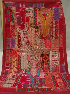 Vintage Tapestry Antique India Handmade Embroidered Patchwork Wall Hanging