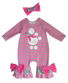 ADORABLE Peaches n Cream Pink Gray POODLE PERFECT Romper Headband BABY Girls (Sz 0-9m) ~Color Me Happy Boutique
