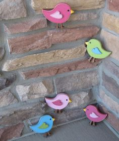 Set of 5 four inch BIRDS for wall hanging bedroom home by lisabees, $19.95 These would be cute for Maggie's room. They can be made in colors to match her room.