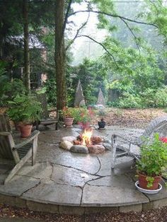 Backyard fire pit is central to a cozy evening. - Fire Pit - Ideas of Fire Pit Fire Pit Backyard, Backyard Patio, Backyard Landscaping, Outdoor Rooms, Outdoor Gardens, Outdoor Living, Outdoor Trees, Outdoor Structures, Outside Living