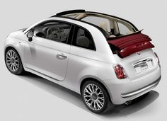 Fiat 500c Lounge with red retractable roof