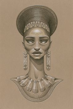 """Khwezi"" by Sara Golish Charcoal, conté gold ink on toned paper. 20.5"" x 27.5""…"