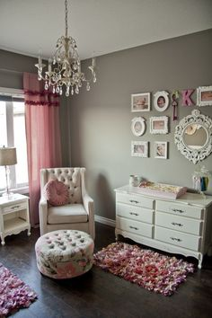 Dark wood, greys, pinks, whites for the nursery