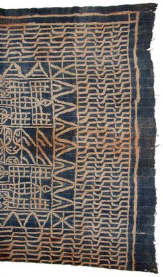 Africa | Royal display cloth (Ndop); partial view.  Grassfields, Cameroon | 20th century | Cotton; indigo dye