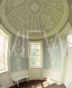 Domed 18th century rococo plasterwork ceiling at Farnborough Hall in Warsickshire, England. The architect was Sanderson Miller.