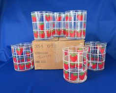 Culver Glass, Strawberries in Window Grid, Double Old Fashioned Barware by WeBGlass on Etsy