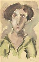 Portrait of a woman in a green blouse by Georgios Bouzianis 1931 Auction, Mona Lisa, Greek Art, Art, Portrait