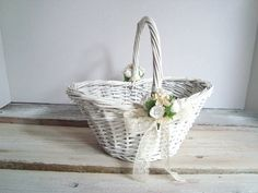 59 best flower girl images on pinterest flower girl basket flower flower girl basketwhite wicker with white flowers by bystitchhappy flower girl basket flower girls mightylinksfo