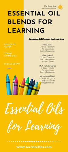 Fabulous tried-and-true essential oil blends to help with learning. #essentialoilsforschool #essentialoilsforlearning