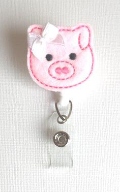 Pink Pig Felt Badge Reel  Retractable ID by SimplyReelDesigns, $6.25