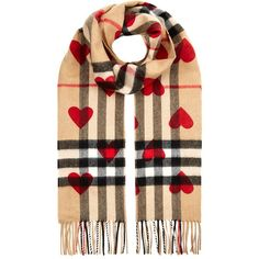 Burberry Classic Cashmere Check Heart Scarf ($550) ❤ liked on Polyvore featuring accessories, scarves, burberry scarves, red cashmere shawl, checkered scarves, cashmere scarves and red shawl