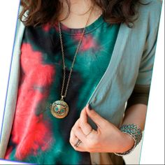 Antique Bronze Blue Eye Owl Locket Retro Long Necklace Pendant