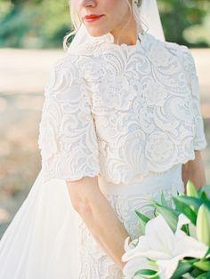 Stunning custom Prada lace wedding gown: Photography : Marina Koslow Photography Read More on SMP: http://www.stylemepretty.com/2016/04/05/orgeon-barn-wedding-with-custom-prada-dress/