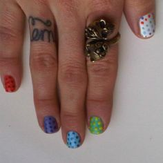 Wedding ring tattoo, skull ring and polka dots