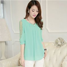 M~XXL New 2014 Women Blouse In Four Colors O-Neck Chiffon Shirt Bottoming Half Sleeve Lace Blouse Tops For Women Free Shipping  $15.70