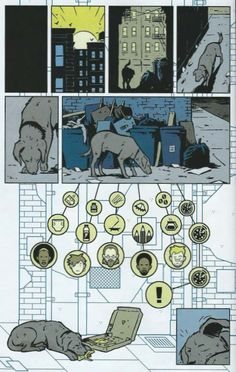 Pizza Dog checks out the trash at Hawkeye's apartment building in Hawkeye vol. 4 #11 by Matt Fraction and David Aja. August 2013.