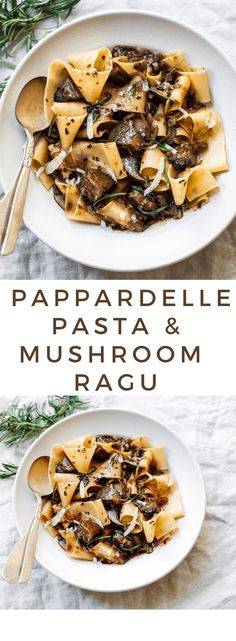 Pappardelle Pasta with Rosemary Portobello Mushroom Sauce. Pappardelle Pasta with Wild Mushroom Ragu Enjoy this hearty, autumnal pappardelle pasta with fresh rosemary and portobello mushrooms in warm bowls, with a glass of red wine on the side :) Pasta With Wild Mushrooms, Stuffed Mushrooms, Pasta With Mushroom Sauce, Gnocchi Mushroom, Vegan Mushroom Pasta, Mushroom Caps, Mushroom Salad, Porcini Mushrooms, Cooking Recipes
