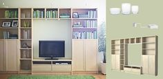 BILLY/BENNO TV storage combination in birch veneer            upstairs tv/organizing idea.