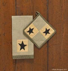 Amazon.com - Primitive Star Pot Holder and Dish Towel Set -