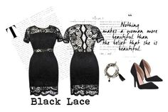 """""""Black Lace"""" by lilyboutique ❤ liked on Polyvore featuring black, plussize and LilyBoutique"""