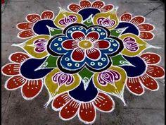 ரங்கோலி கலர் கோலம்/simple color rangoli design /muggulu design rangoli Source by