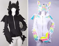 Dragon Hoodie Black and White - Front View  I want this so bad!!!! but its 400 dollars! oh... now do i make one? or buy it??? buying it would save me so much time!!! :'(